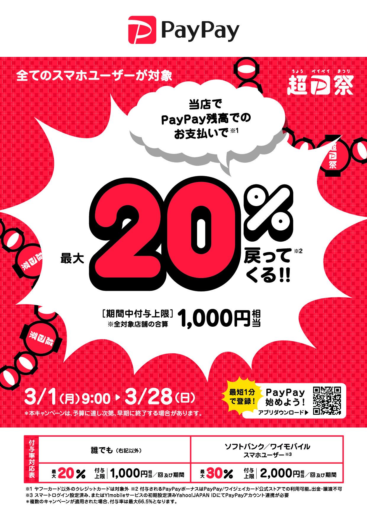 超PayPay祭キャンペーン  PayPay残高でのお支払いで最大20%戻ってくる!!  【期間】3月1日(月)9:00~3月28日(日) 【付与上限】1000円相当/回及び期間(全対象店舗の合算) *本キャンペーンは、予算に達し次第、早期に終了することがあります。
